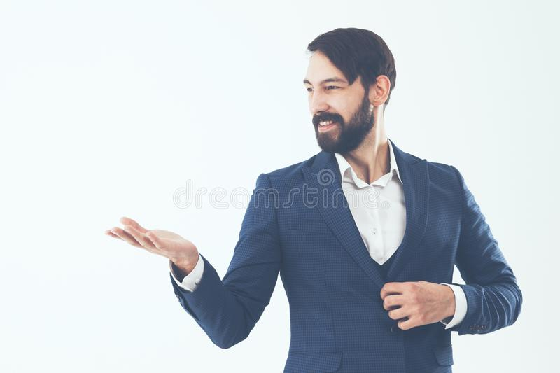 Concept of business success - a portrait of a confident business. Confident businessman in a business suit.the photo has a empty space for your text stock images