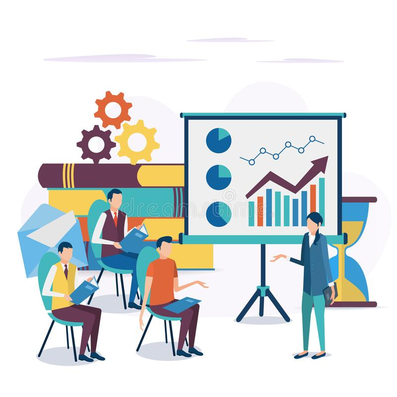 The concept of business training. Corporate training. Seminar for employees. Analysis of statistics. Briefing. Vector illustration in flat style vector illustration