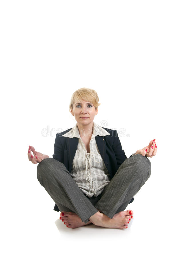 Concept of business yoga. Business woman doing yoga.Concept of business yoga stock image
