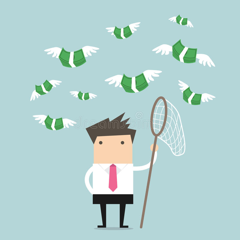 Concept businessman trying to catch money fly. Vector vector illustration