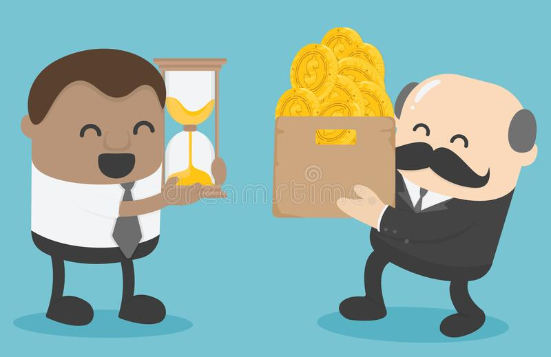 Concept of businessmen exchanges money with time. Eps.10 stock illustration