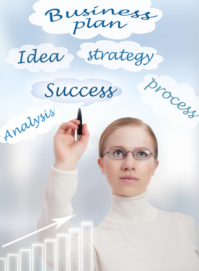 Concept. businessplan en onderneemster stock foto's