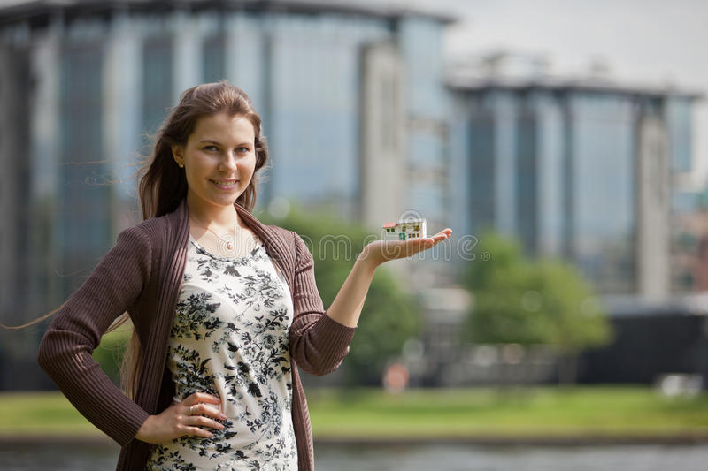 Concept of buying and insuring real estate. stock photo
