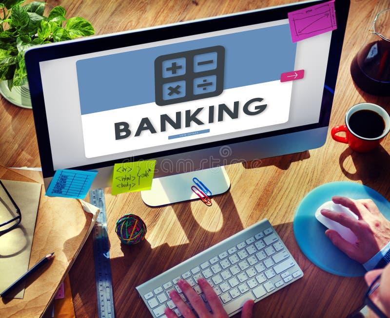 Concept calculateur de finances de comptabilité d'opérations bancaires photo libre de droits