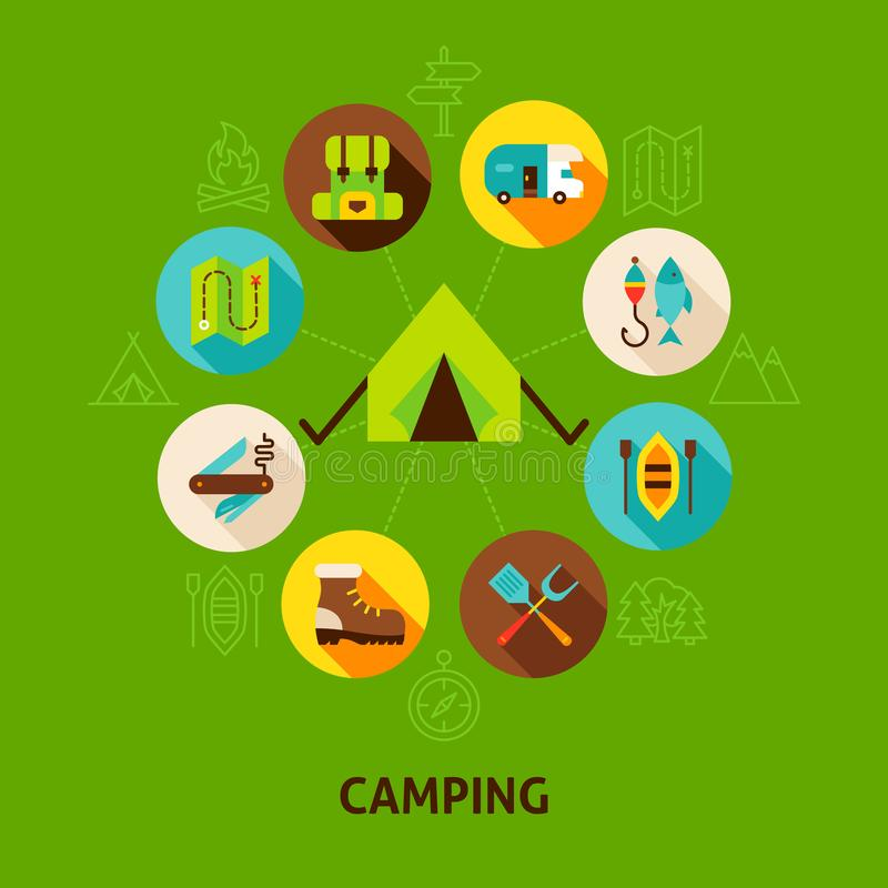 Concept Camping Tent. Vector Illustration of Camp Infographics Circle with Flat Icons royalty free illustration