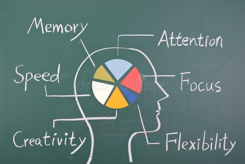 Concept capaciteit zes in menselijke hersenen stock foto