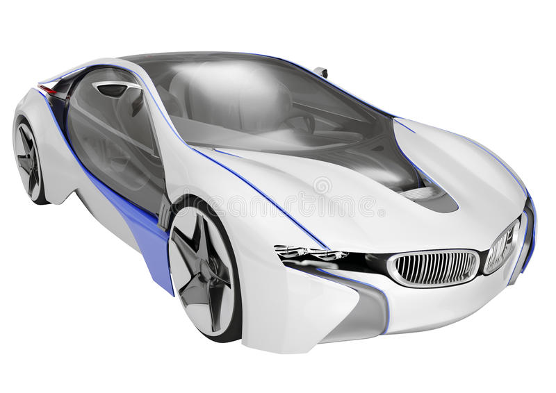 Concept car. Futuristic concept car on isolated white background royalty free illustration