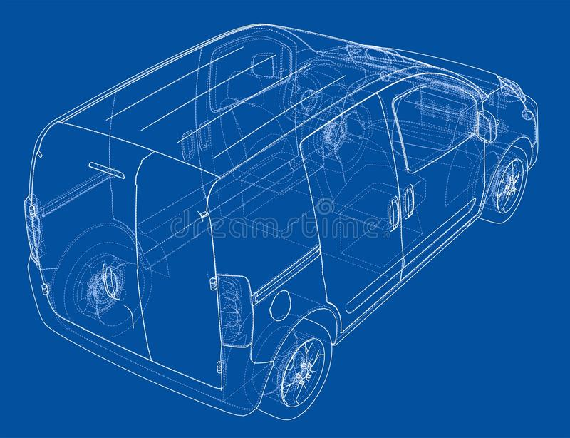 Concept car blueprint stock illustration. Illustration of outline ...