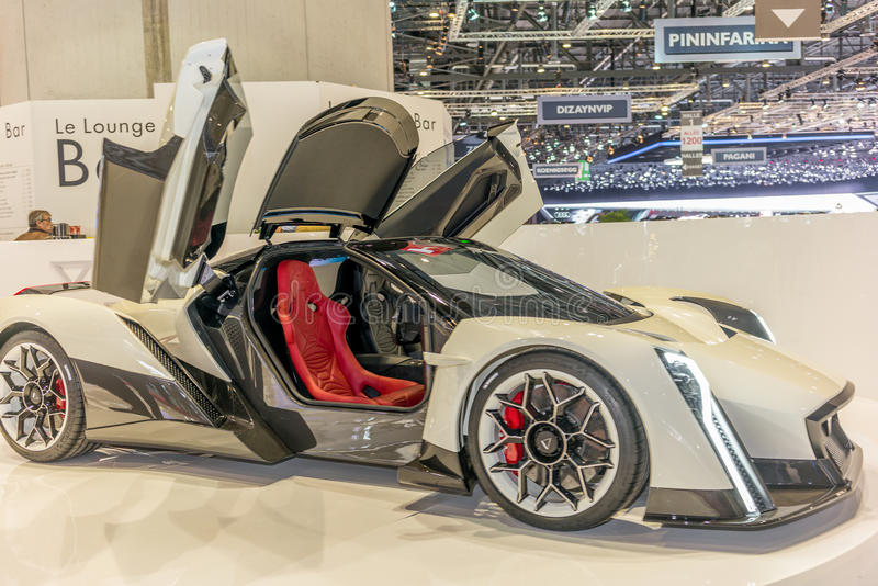 Concept car at the Dendrobium stand at the Geneva International Motor Show royalty free stock photos