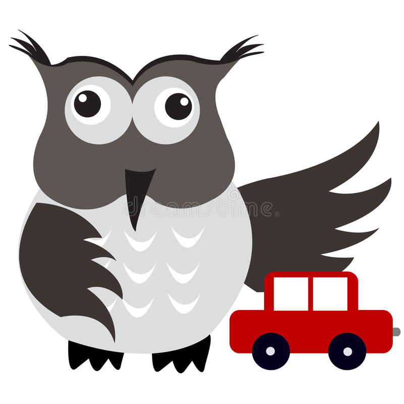 Concept Of Car Insurance With Car Under Owl Wing Protection Stock Photos
