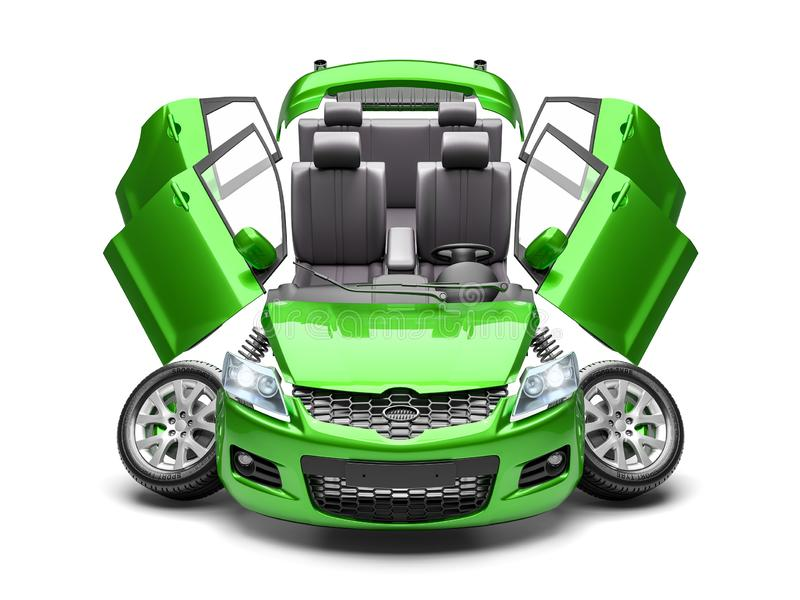 Concept of car spare parts. 3d render royalty free illustration