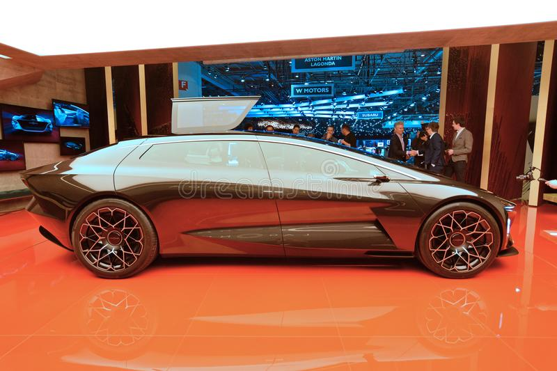 88th Geneva International Motor Show 2018 - Aston Martin Lagonda Vision Concept. This concept car is a throwback to the old times when concept designers didn stock image