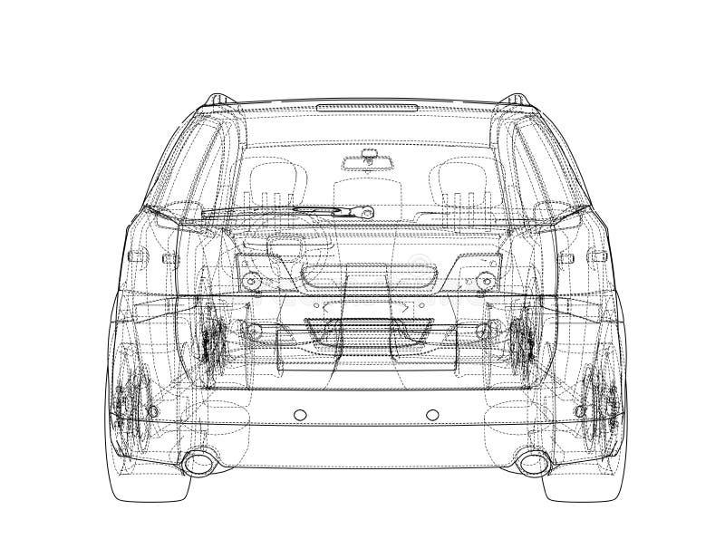 Concept Car Vector Rendering Of 3d Stock Vector Illustration Of Blueprint Illustration 138711934