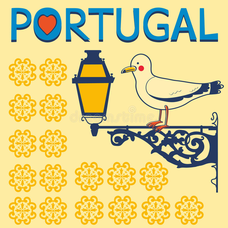 Concept card with tipical portuguese lantern and vector illustration