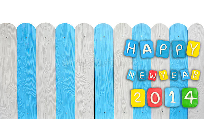 Concept card Year 2014 set made from plasticine on wooden royalty free stock image