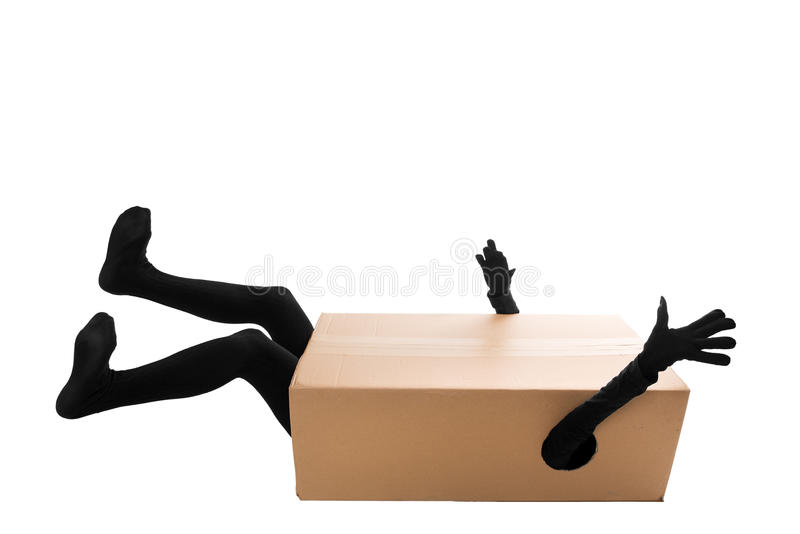 Concept: a careless package delivery stock images
