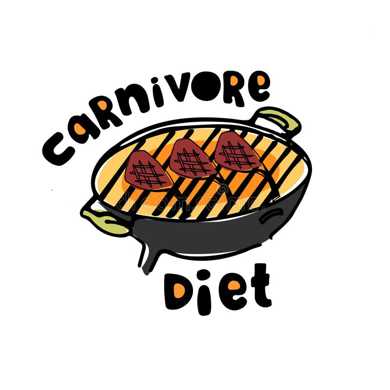 Concept carnivoor, all-meat dieet Uitstekend voor affiche, banner, artikelillustratie royalty-vrije illustratie