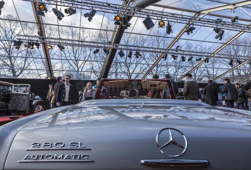 The Concept Cars Exhibition and Automobile Design - Paris 2018. PARIS, FRANCE - FEBRUARY 04, 2018: People enjoying beautiful cars shown in the Concept Cars royalty free stock images