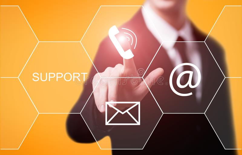 Concept central de technologie d'affaires d'Internet de service client de support technique photo libre de droits