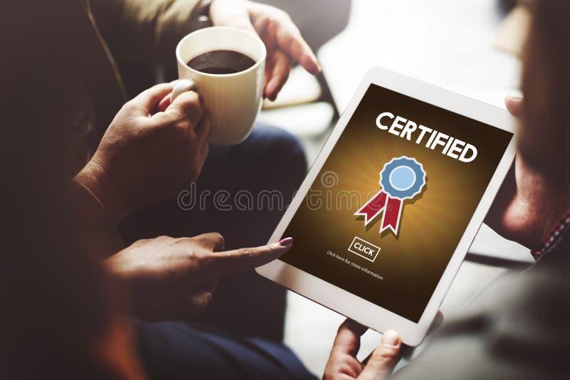 Concept certifié de confirmation d'accord d'approbation images libres de droits