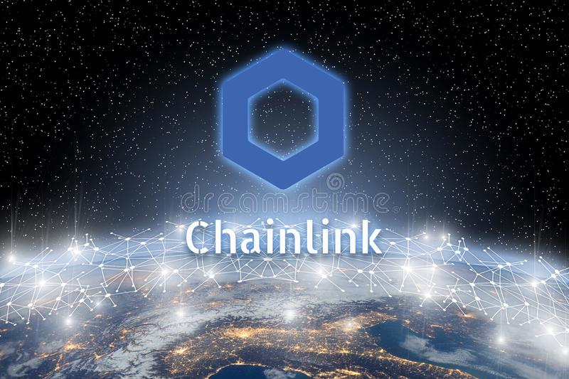 Concept of Chainlink coin over world network, a Cryptocurrency blockchain platform , Digital money. Concept of Chainlink coin floating over world network, a stock illustration