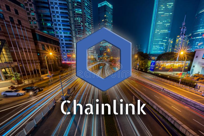 Concept of Chainlink coin moving fast on the road, a Cryptocurrency blockchain platform. Digital money stock illustration