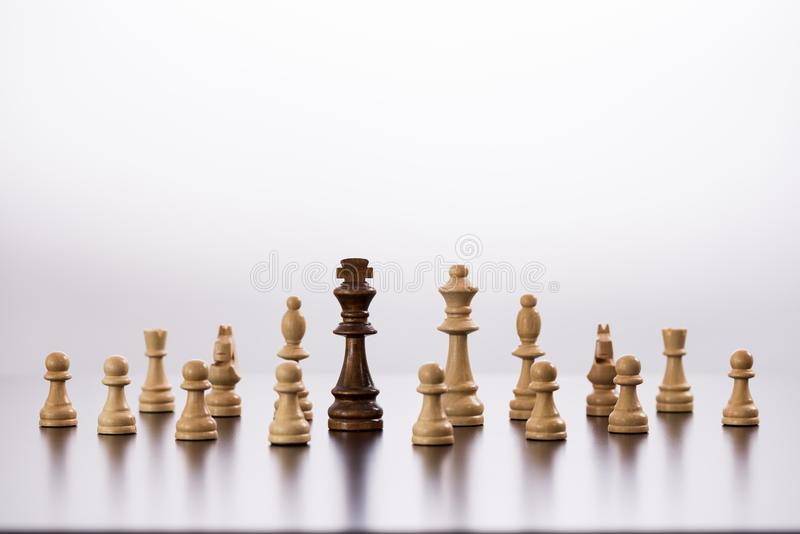 Concept for Challenge and Diversity with Chess Pieces royalty free stock photos