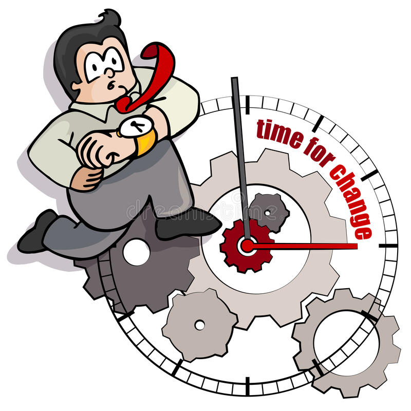 Concept of change. A businessman cartoon is running towards change on the time royalty free illustration
