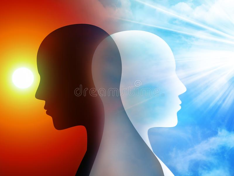 Concept change of mood. Emotions. Bipolar disorder mind mental. Split personality. Silhouette heads of man vector illustration