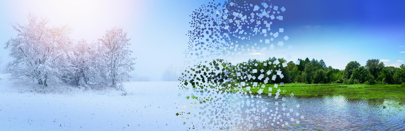 The concept of the change of seasons winter summer with the destruction and expansion of the explosion of pixels photo. royalty free illustration