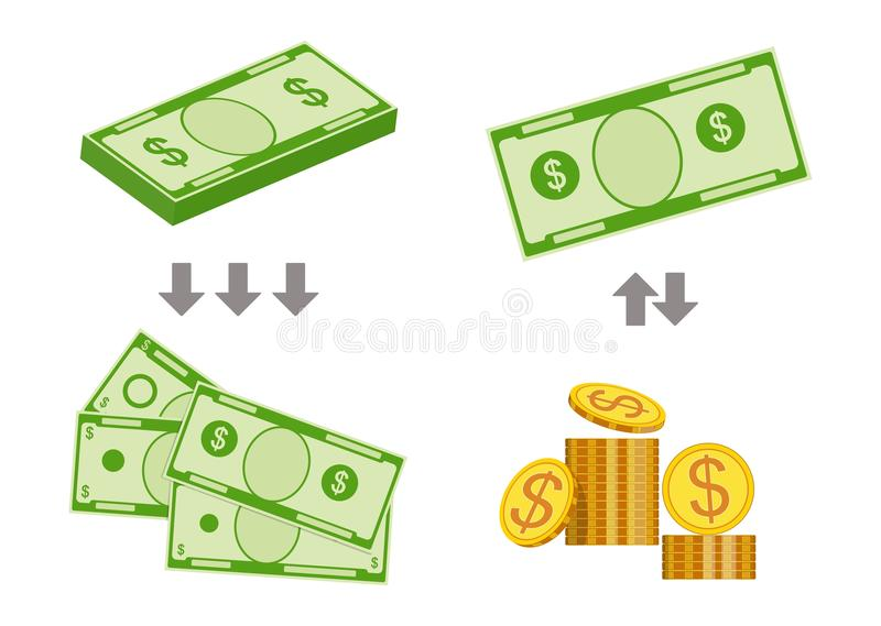 Concept of changing bills for smaller money. Vector illustration vector illustration