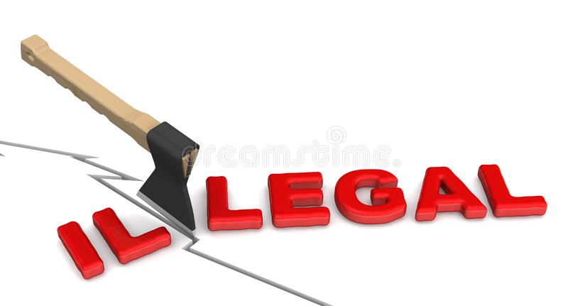 Illegal is becoming legal royalty free illustration