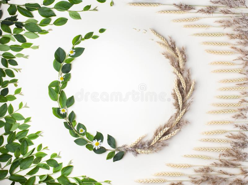 Concept of changing seasons from summer to autumn. Top view. Creative layout of changing seasons from summer to autumn. Wreath of green leaves and wheat. Flat stock image