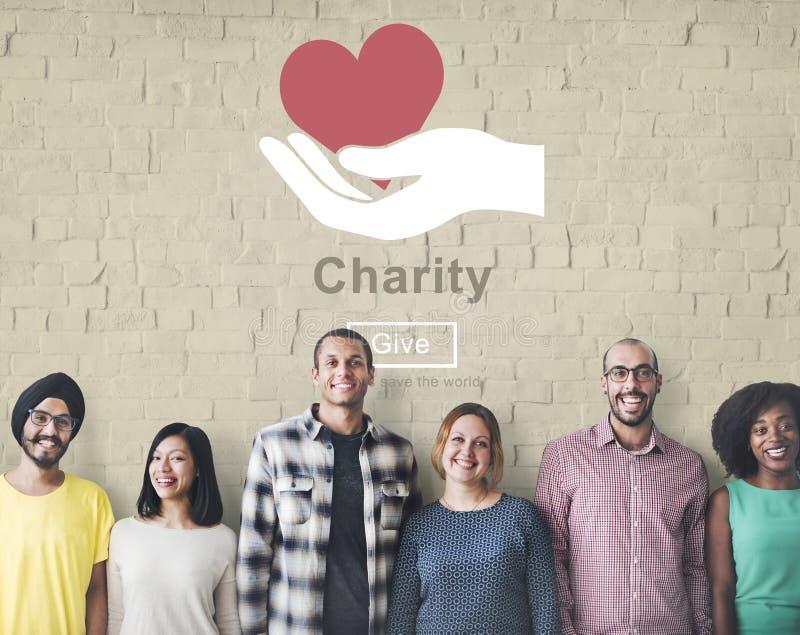 Concept charitable d'aide de donation de soutien de soulagement de charité photos stock