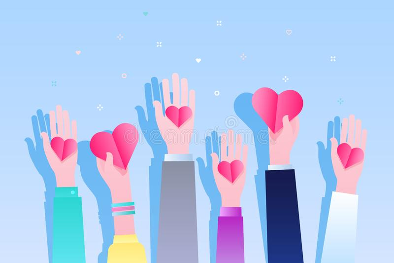 Concept of charity and donation. Give and share your love to people. Hands holding a heart symbol. Flat design, vector illustration vector illustration