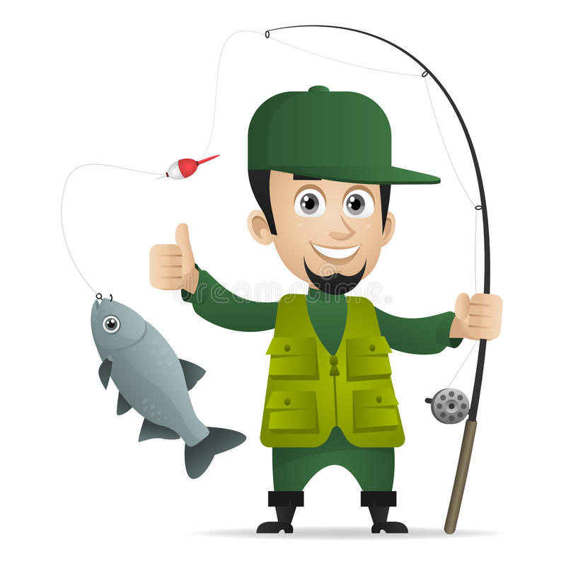 Concept cheerful fisherman holds fishing rod. Illustration, concept cheerful fisherman holds fishing rod, format EPS 10 vector illustration