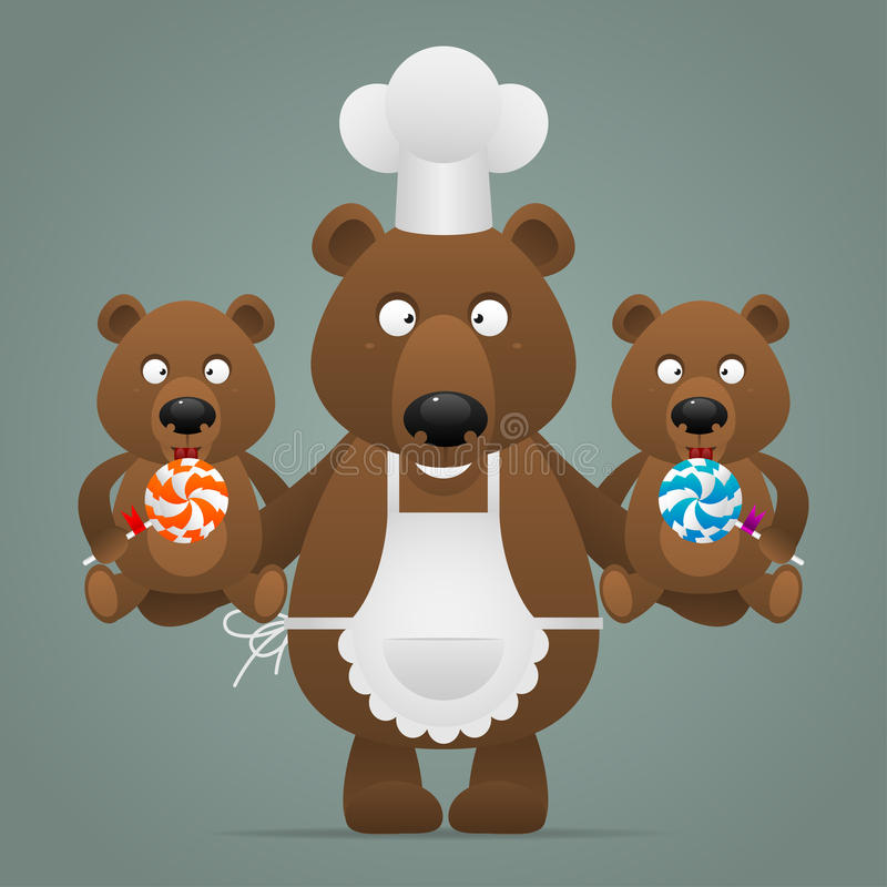 Concept chef bear with cubs. Illustration, concept chef bear with cubs, format EPS 10 stock illustration