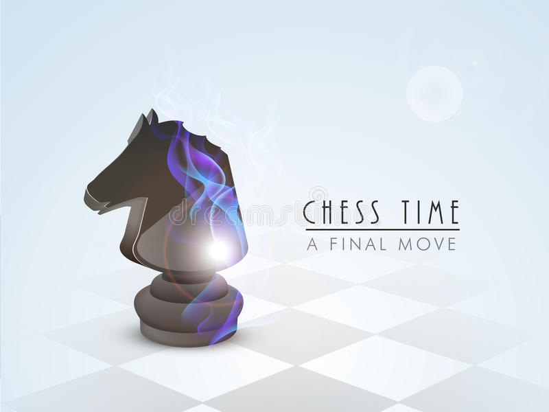 Concept of chess with knight. Stylish chess knight with flame on sky blue background stock illustration