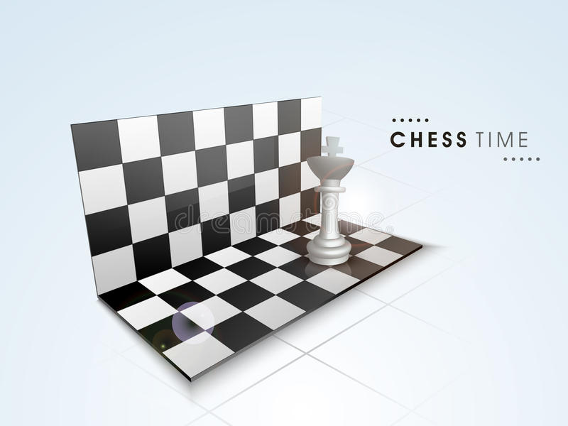 Concept of chess time with its board and piece. Shiny folding chess board with king on sky blue background stock illustration