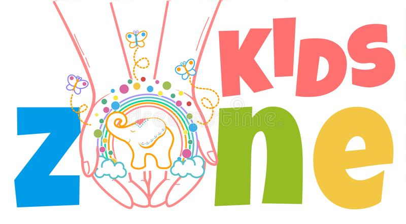 Concept of child development kids zone. Concept of child development, the school for the development of the creativity of the child in the form of hands with royalty free illustration