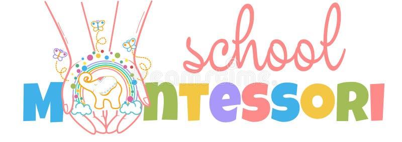 Concept of child development montessori. Concept of child development, the school for the development of the creativity of the child in the form of hands with stock illustration