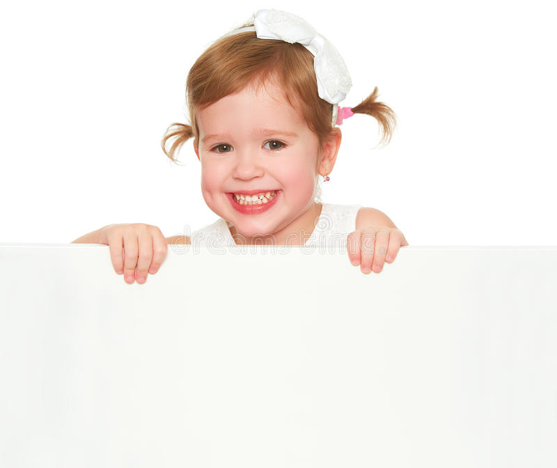 Concept child girl with white blank poster isolated. Concept child girl with white blank poster banner isolated royalty free stock photos