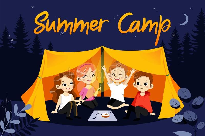 Concept Of Children Summer Camp. Happy Children During Summer Vacations Hiking. Kids Sit In The Tent And Play With. Lanterns. Beautiful Night Forest Nature stock illustration