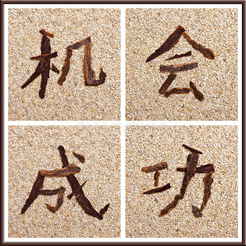 Download Concept Chinese Characters For Chance And Success Stock Illustration - Illustration of bark, conceptual: 29916517
