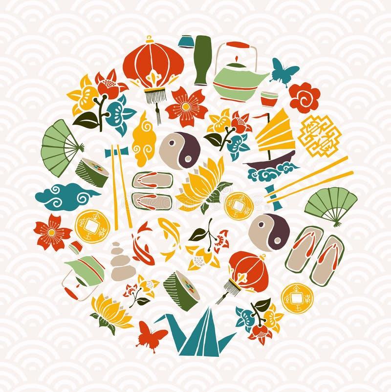 Concept chinois de décoration de nouvelle année avec des icônes illustration stock