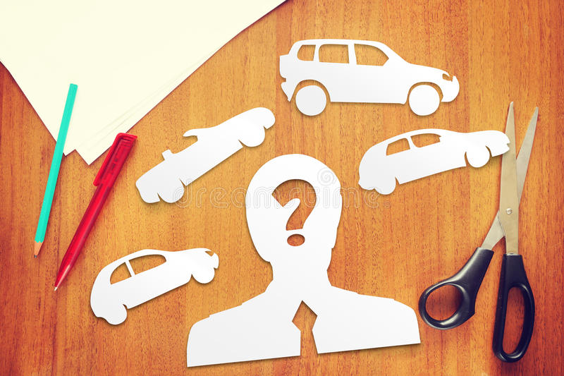 Concept of choice what kind of car to buy stock photos