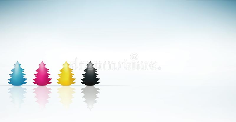 Concept cmyk Christmas tree in cyan magenta yellow black. Merry Christmas. Blue background. Concept Christmas greetings with Christmas tree colored reflections royalty free illustration