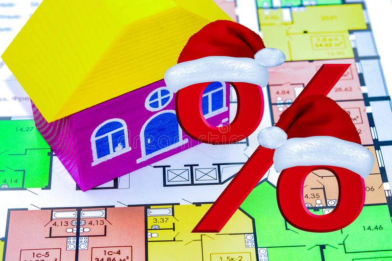 The concept of Christmas sales real estate stock image