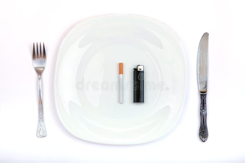 Download Cigarette And Lighter Instead A Dinner Stock Image - Image: 29846313