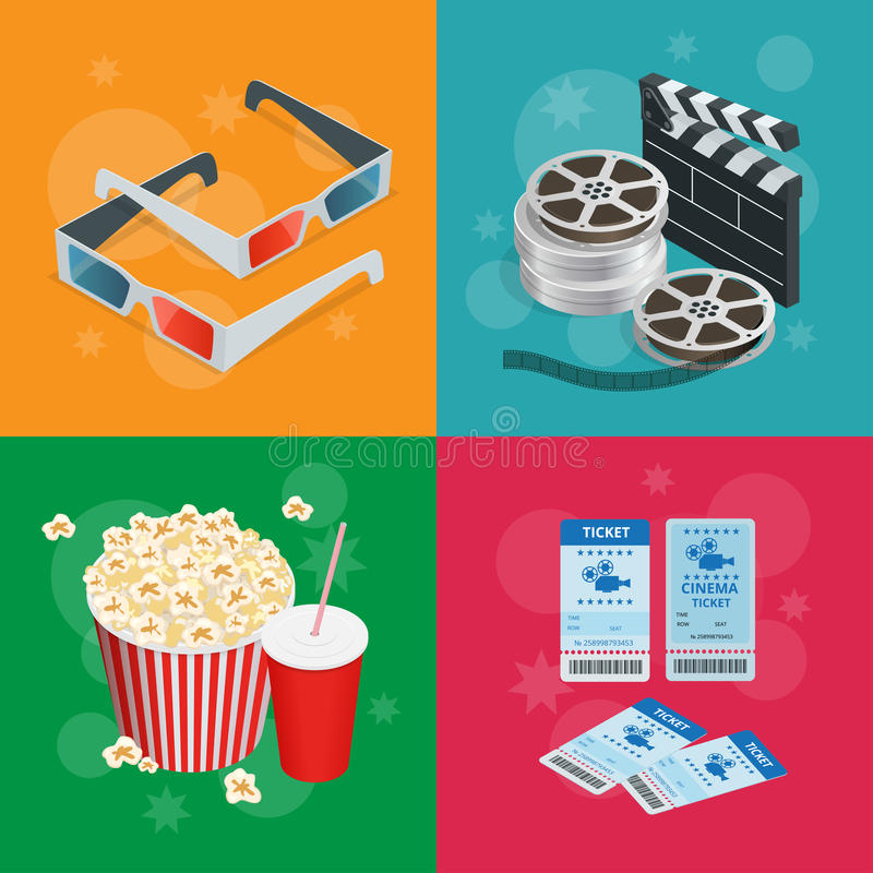 Concept cinema banners. Realistic Cinema concept with movie theatre elements. Movie poster template with film reel stock illustration